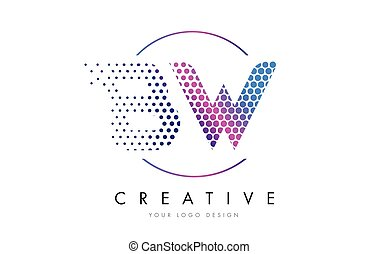 BW B W Pink Magenta Dotted Bubble Letter Logo Design Vector...
