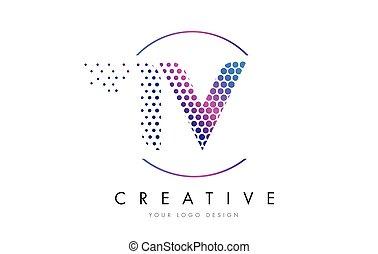 IV I V Pink Magenta Dotted Bubble Letter Logo Design Vector...