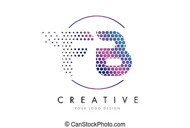 FB F B Pink Magenta Dotted Bubble Letter Logo Design Vector...