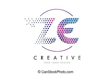 ZE Z E Pink Magenta Dotted Bubble Letter Logo Design Vector...