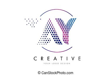 AY A Y Pink Magenta Dotted Bubble Letter Logo Design Vector...