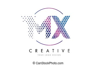 MX M X Pink Magenta Dotted Bubble Letter Logo Design Vector...