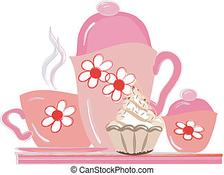 Tea party. - Tea party:pink tea set on a tray with cake.