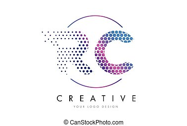 RC R C Pink Magenta Dotted Bubble Letter Logo Design Vector...