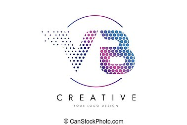 VB V B Pink Magenta Dotted Bubble Letter Logo Design Vector...