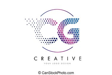 CG C G Pink Magenta Dotted Bubble Letter Logo Design Vector...