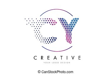 CY C Y Pink Magenta Dotted Bubble Letter Logo Design Vector...