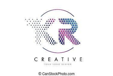 KR K R Pink Magenta Dotted Bubble Letter Logo Design Vector...