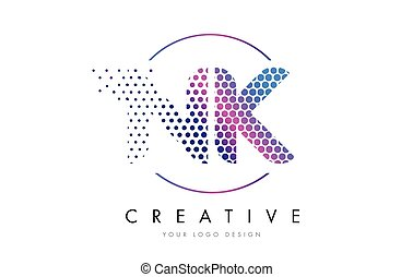 NK N K Pink Magenta Dotted Bubble Letter Logo Design Vector...