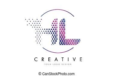 HL H L Pink Magenta Dotted Bubble Letter Logo Design Vector...