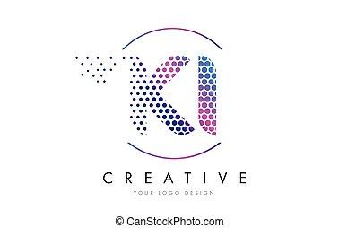 KI K I Pink Magenta Dotted Bubble Letter Logo Design Vector...