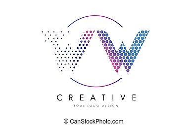 WW W Pink Magenta Dotted Bubble Letter Logo Design Vector -...