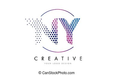 NY N Y Pink Magenta Dotted Bubble Letter Logo Design Vector...