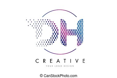 DH D H Pink Magenta Dotted Bubble Letter Logo Design Vector...