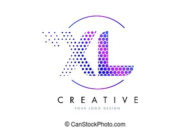 XL X L Pink Magenta Dotted Bubble Letter Logo Design Vector...