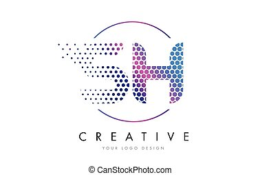 SH S H Pink Magenta Dotted Bubble Letter Logo Design Vector...