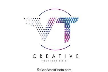 VT V T Pink Magenta Dotted Bubble Letter Logo Design Vector...