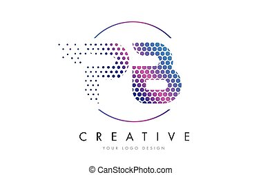 PB P B Pink Magenta Dotted Bubble Letter Logo Design Vector...