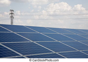 Solar power plant - Line of solar power plant panels with...