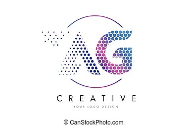 AG A G Pink Magenta Dotted Bubble Letter Logo Design Vector...
