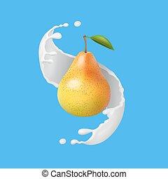 Pear with milk or yogurt splash. Fruit illustration. Realistic vector icon