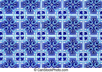 Portuguese azulejo tiles. Blue and white Abstract colorful...