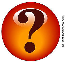 red question mark web button or icon