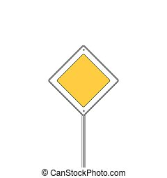 Main road sign icon. Flat design. Vector illustration