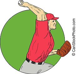 Baseball Pitcher Throwing Ball Circle Drawing