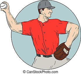 American Baseball Pitcher Throwing Ball Circle Drawing -...