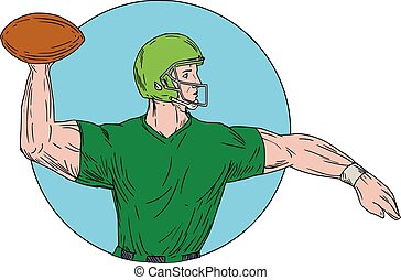 Quarterback QB Throwing Ball Circle Drawing - Drawing sketch...