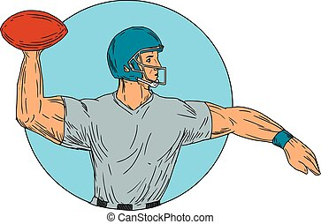 Quarterback QB Throwing Ball Motion Circle Drawing - Drawing...
