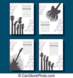 Four abstract guitar backgrounds