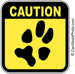sign with paw print - no pets - yellow and black caution...