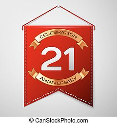 Red pennant with inscription Twenty one Years Anniversary...
