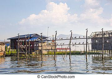 Floating house in Inle lake, Myanmar