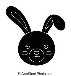 Grey rabbit with long ears. Easter single icon in black...