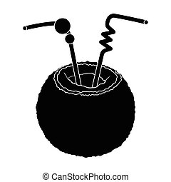 A cocktail in coconut with tubes.Summer rest single icon in black style vector symbol stock illustration.