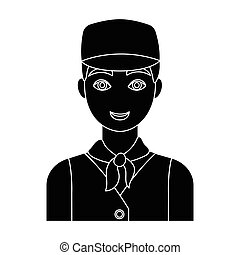 Belgian guy in a cap and waistcoat.The dark Belgian wolf. Belgium single icon in black style vector symbol stock illustration.