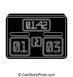 Board with a score of football.Fans single icon in black style vector symbol stock illustration.