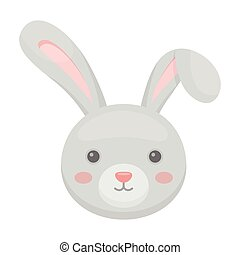 Grey rabbit with long ears. Easter single icon in cartoon...