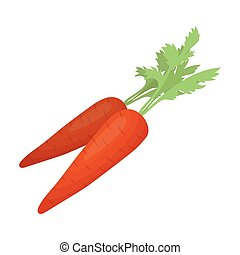Carrots with foliage . Easter single icon in cartoon style vector symbol stock illustration.