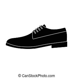 Mens leather shiny shoes with laces. Shoes to wear with a suit.Different shoes single icon in black style vector symbol stock illustration.