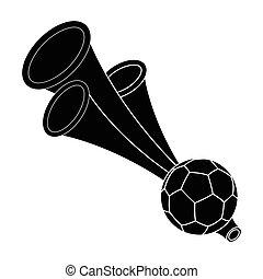 Trumpet football fan.Fans single icon in black style vector...