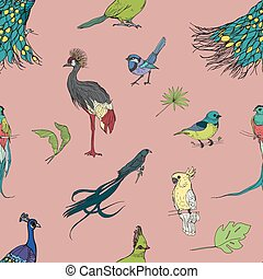 Realistic hand drawn colorful seamless pattern with...