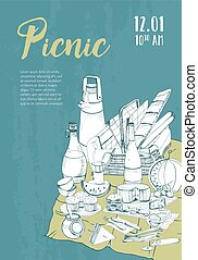 Hand drawn picnic poster. Placard with place for text and food illustration.