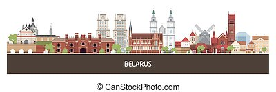 Background with Belarus country buildings and place for...