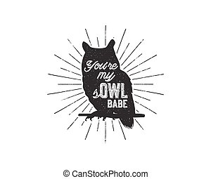 Vintage hand drawn animal label. Tribal badge with textured owl, sunbursts and typography. Good for retro style t shirt, tee designs, print, mugs and so on. Stock Vector illustration