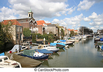 Dordrecht Harbor - Old harbor with boats in Dordrecht,...