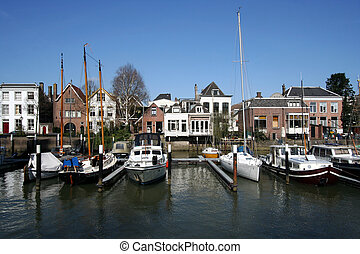 Marina of Dordrecht - Old harbor of Dordrecht, Holland, with...